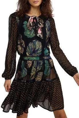 Cynthia Rowley Inverness Mixed Media Fish Blouson-Sleeve Dress