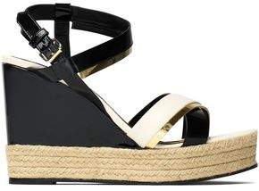 Lanvin Metallic-Trimmed Patent-Leather Wedge Espadrille Sandals