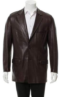 Gianni Versace Leather Notch-Lapel Jacket