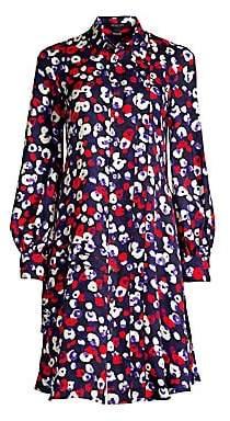 Derek Lam Women's Long-Sleeve Poppy Print Silk Shirt Dress