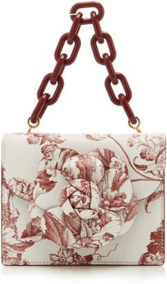 Oscar de la Renta Floral-Detailed Tapestry-Print Leather Shoulder Bag