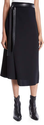 Vince Belted Wrap Midi Skirt