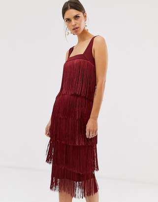 Asos Design DESIGN fringe midi dress