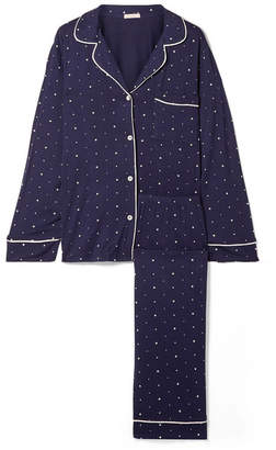 Eberjey Sleep Chic Printed Stretch-jersey Pajama Set - Midnight blue