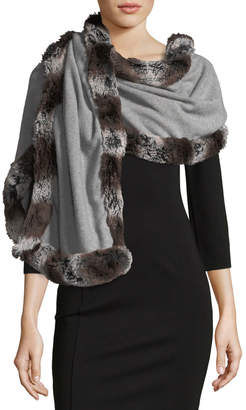 Neiman Marcus Faux-Fur Trimmed Knit Wrap