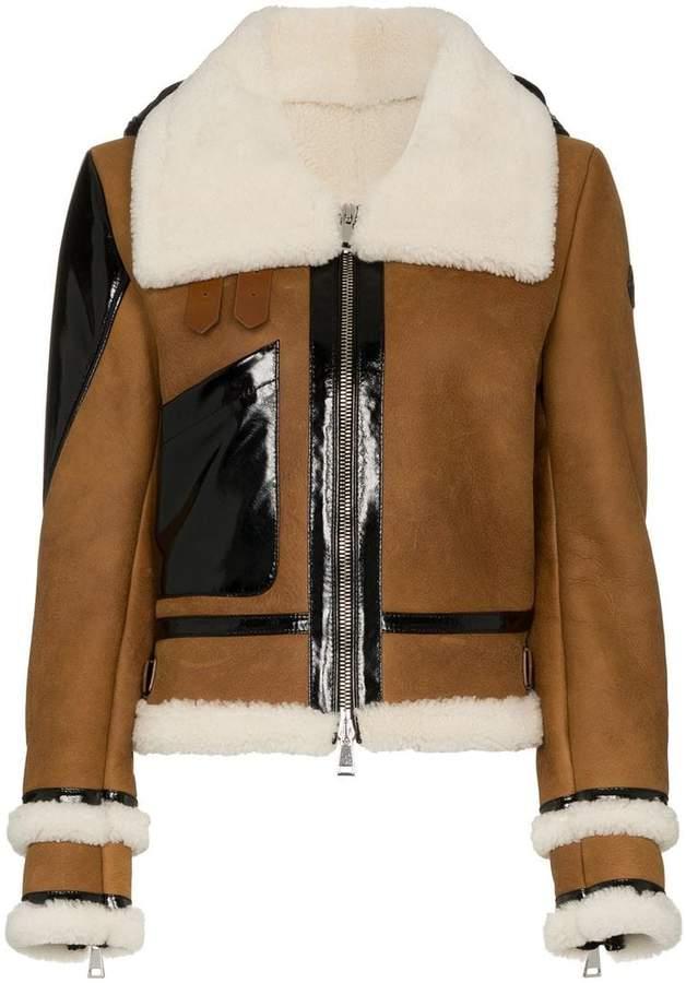 Crabier crop shearling jacket with down hood