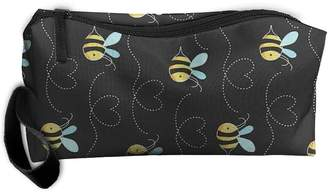 Bumble Bee Adviseverb Yellow Bumblebee Cosmetic Bags Brush Pouch Makeup Bag Zipper Wallet Hangbag Pen Organizer Carry Case Wristlet Holder