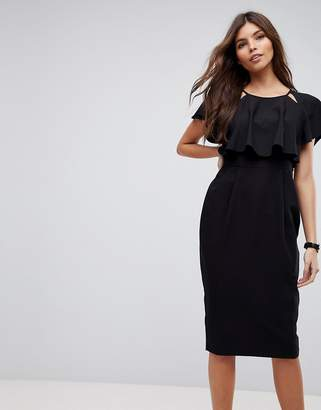 Asos Double Layer Midi Wiggle Dress with Angel Sleeve