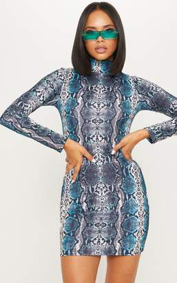 PrettyLittleThing Multi High Neck Snake Skin Long Sleeve Bodycon Dress