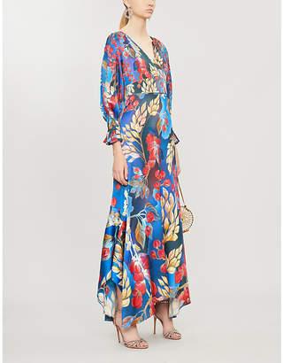 Peter Pilotto Floral-print V-neck stretch-silk dress