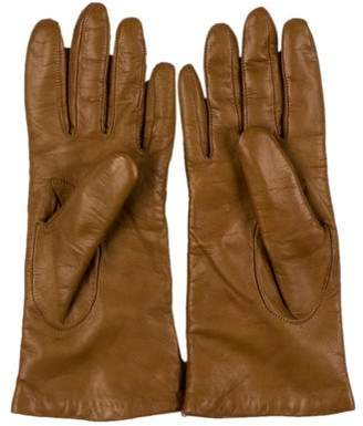 Neiman Marcus Wool-Lined Leather Gloves