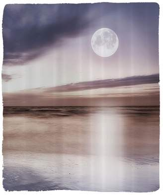 BEIGE Nalahome 1 Fleece Blanket on Amazon Super Silky Soft All Season Super Plush Nature Decor Collection Full Moon at the Beach Moon Reflection on Ocean Cloudyky Night Lscape Picture Fabric Extra Grey