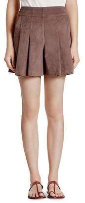 Halston Faux Suede Pleated Shorts