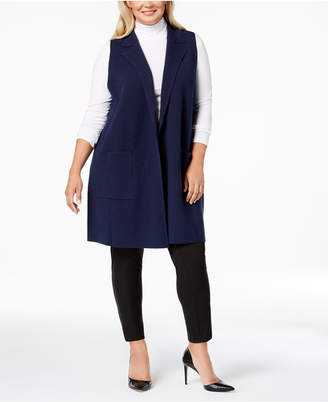 Charter Club Plus Size Sleeveless Sweater Coat, Created for Macy's