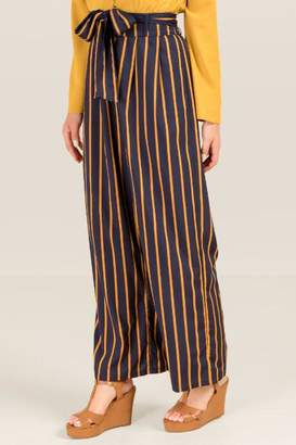 francesca's Mel Tie Waist Pinstriped Pants - Navy