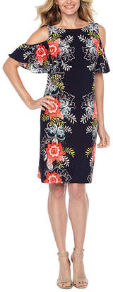 MSK Short Sleeve Cold Shoulder Puff Print Floral A-Line Dress