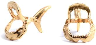 Lee Renee Shark Jawbone Cufflinks Gold