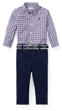 Ralph Lauren Childrenswear Baby Boy's Three-Piece Cotton Plaid Shirt, Chino Belt Set