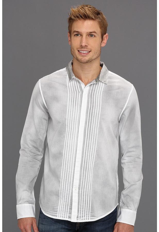 Calvin Klein Jeans Ambit Stripe Spray Tuxedo Shirt (White) - Apparel