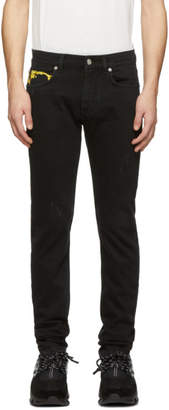 Versace Black Brocade Slim Jeans