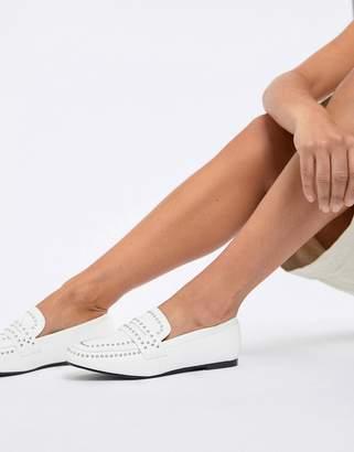 Glamorous White Studded Loafer