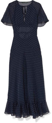 ALEXACHUNG Cape-effect Ruffled Polka-dot Crepe Dress - Navy