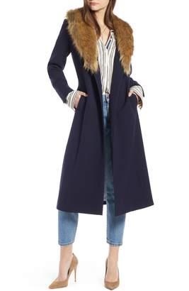 Something Navy Faux Fur Collar Midi Coat