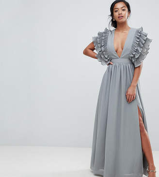 True Decadence Petite Premium Plunge Front Maxi Dress With Shoulder Detail