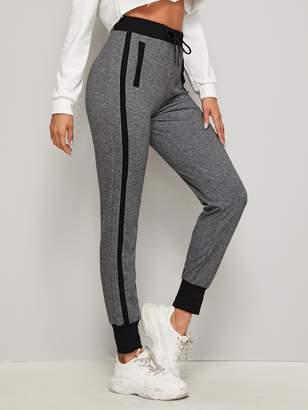 Shein Contrast Trim Heather Grey Sweatpants