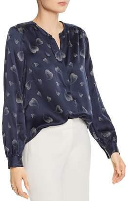 Joie Mintee Heart-Print Silk Shirt