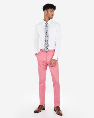 Express Extra Slim Bright Pink Cotton Oxford Stretch Suit Pant