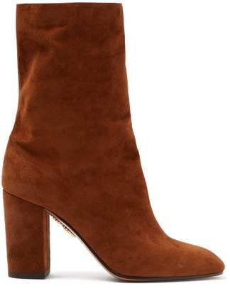 Aquazzura Boogie Suede Ankle Boots - Womens - Tan