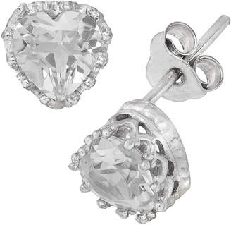 FINE JEWELRY Sterling Silver Lab Created White Sapphire Crown Earrings