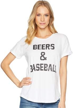 Original Retro Brand The Beers and Baseball Rolled Short Sleeve Slub Tee Women's T Shirt
