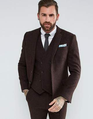 Asos Design Slim Suit Jacket in 100% Wool Harris Tweed In Brown
