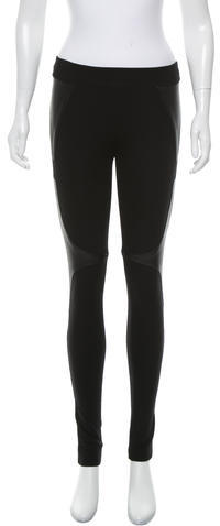 Helmut Lang Helmut Lang Leather-Accented Leggings Pants