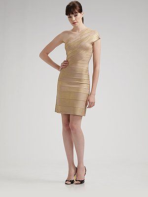 Herve Leger One-Shoulder Foil Dress