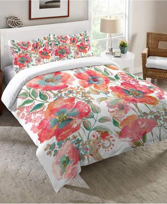 Laural Home Bohemian Poppies Queen Comforter Bedding