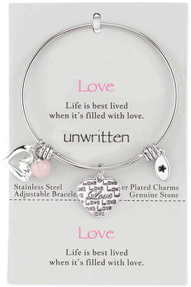 Unwritten Love Charm and Rose Quartz (8mm) Bangle Bracelet in Stainless Steel