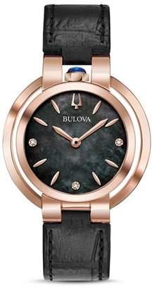 Bulova Rubaiyat Black Leather Strap Watch, 35mm