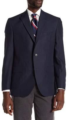 David Donahue Blue Solid Two Button Notch Lapel Linen Classic Fit Sport Coat