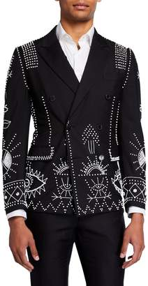 Valentino Men's Double-Breasted Beaded Wool-Blend Blazer