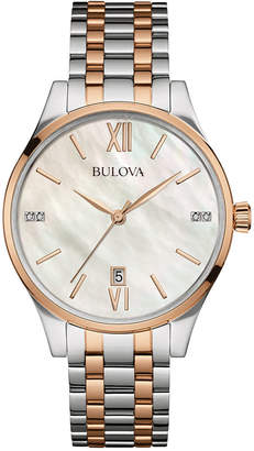 Bulova Women's Diamond Accent Two-Tone Stainless Steel Bracelet Watch 36mm 98P150 $395 thestylecure.com