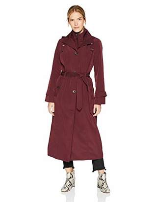 London Fog Women's Single Breasted Full Length Button Trench Coat with Hood