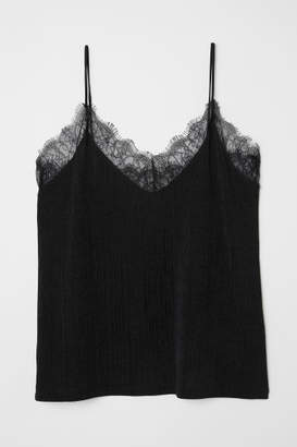 H&M Jersey Top with Lace - Black