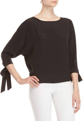 Badgley Mischka Black Self-Tie Dolman Sleeve Silk Top