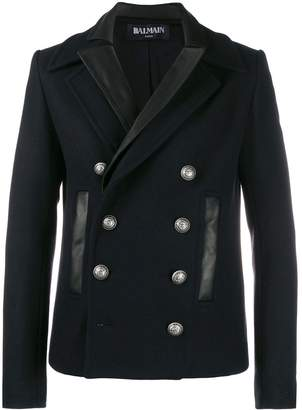 Balmain leather layered double breasted coat