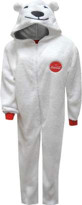 Briefly Stated Coca-Cola Coke Polar Bear Onesie Hooded Pajaa foren (ediu)