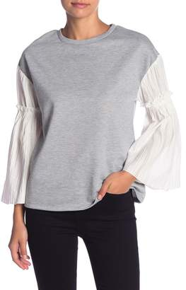 AFTER MARKET Mixed Media Bell Sleeve Top