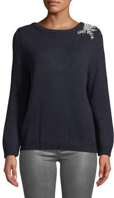 BA&SH Ourea Embellished Boat-Neck Wool Sweater